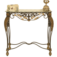 2120   Metal console table with glass top