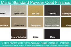 Mario Standard Powder Coat Finishes