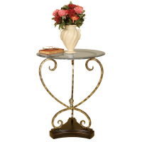 2587 | Metal Accent Table With Glass Top