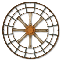 2620 | Gun metal silver and copper blue spoked wall art